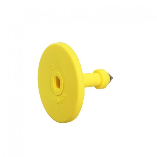 Бирка с металлическим наконечником круглая  ARDES BUTTON 28 мм, желтая